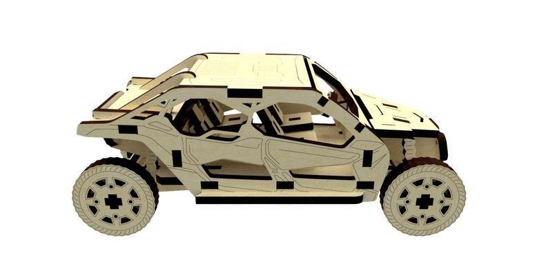 Dřevěné 3D puzzle, skládačka buggy