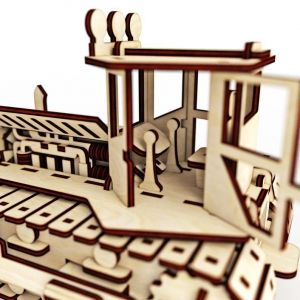 Dřevěné 3D puzzle, skládačka buldozér