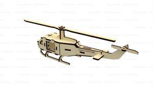 Dřevěné 3D puzzle, skládačka helikoptéra