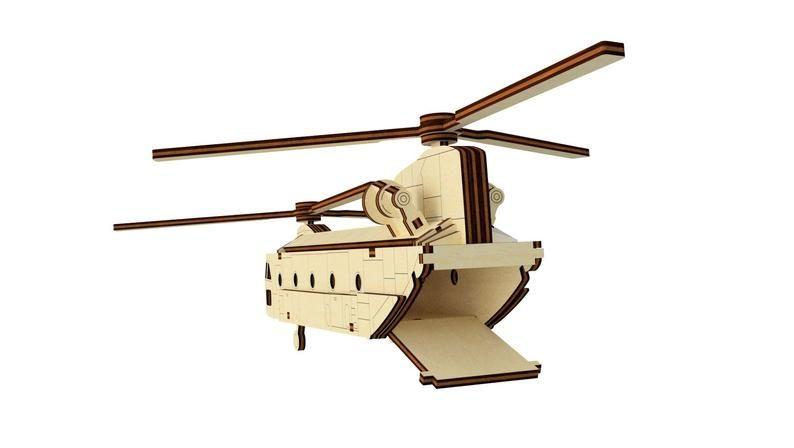 Dřevěné 3D puzzle, skládačka helikoptéra velká