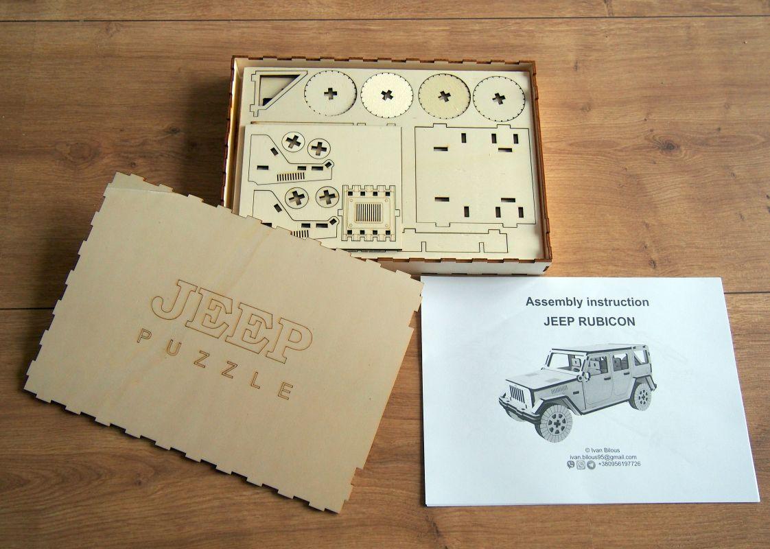 Dřevěné 3D puzzle, skládačka jeep