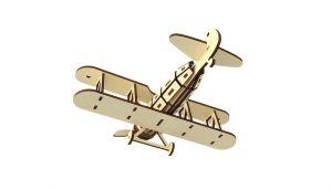 Dřevěné 3D puzzle, skládačka dvouplošník letadlo
