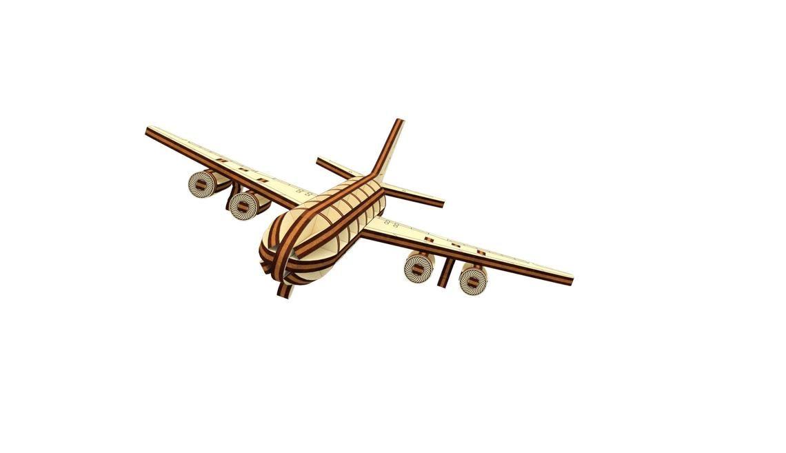 Dřevěné 3D puzzle, skládačka letadlo