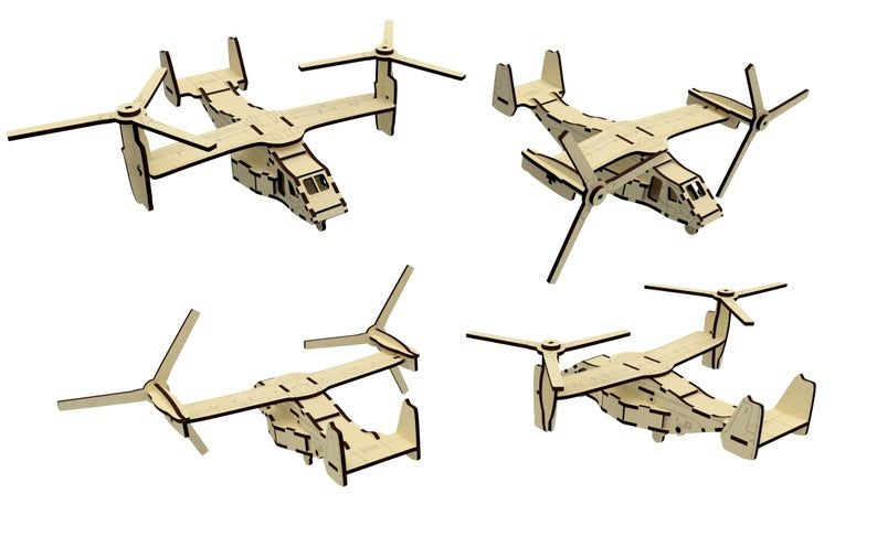 Dřevěné 3D puzzle, skládačka letadlo2