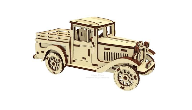 Dřevěné 3D puzzle, skládačka mechanical truck