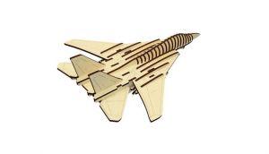 Dřevěné 3D puzzle, skládačka stíhačka letadlo