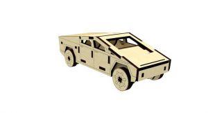 Dřevěné 3D puzzle, skládačka Tesla