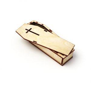 Dřevěný krabička ve tvaru rakvičky 16cm