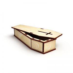 Dřevěná krabička ve tvaru rakvičky