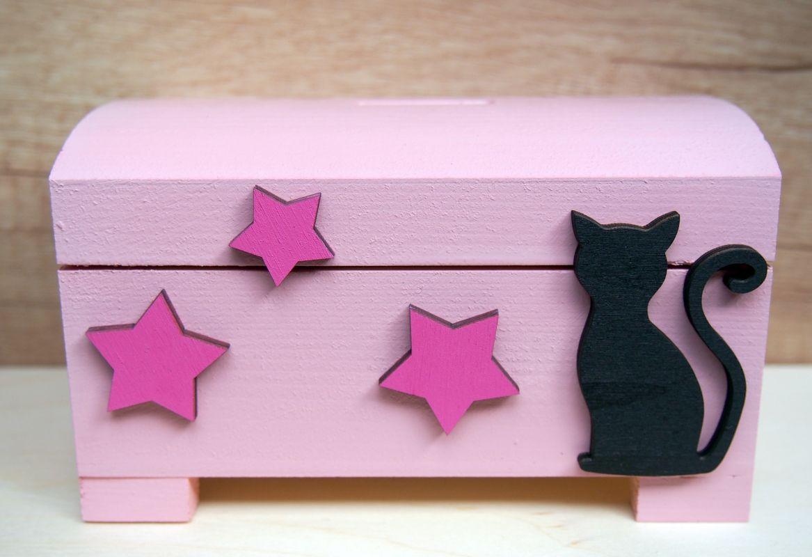 Pokladnička truhlička s kočkou a hvězdami
