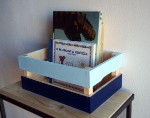 Dřevěná bedýnka barevná 33x22x14,5