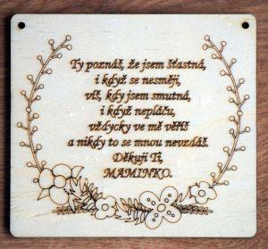 Dřevěná cedulka s citátem pro maminku | od syna, od dcery
