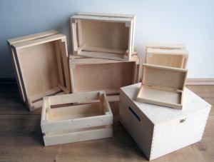 Dřevěné krabičky, bedýnky, boxy a truhly