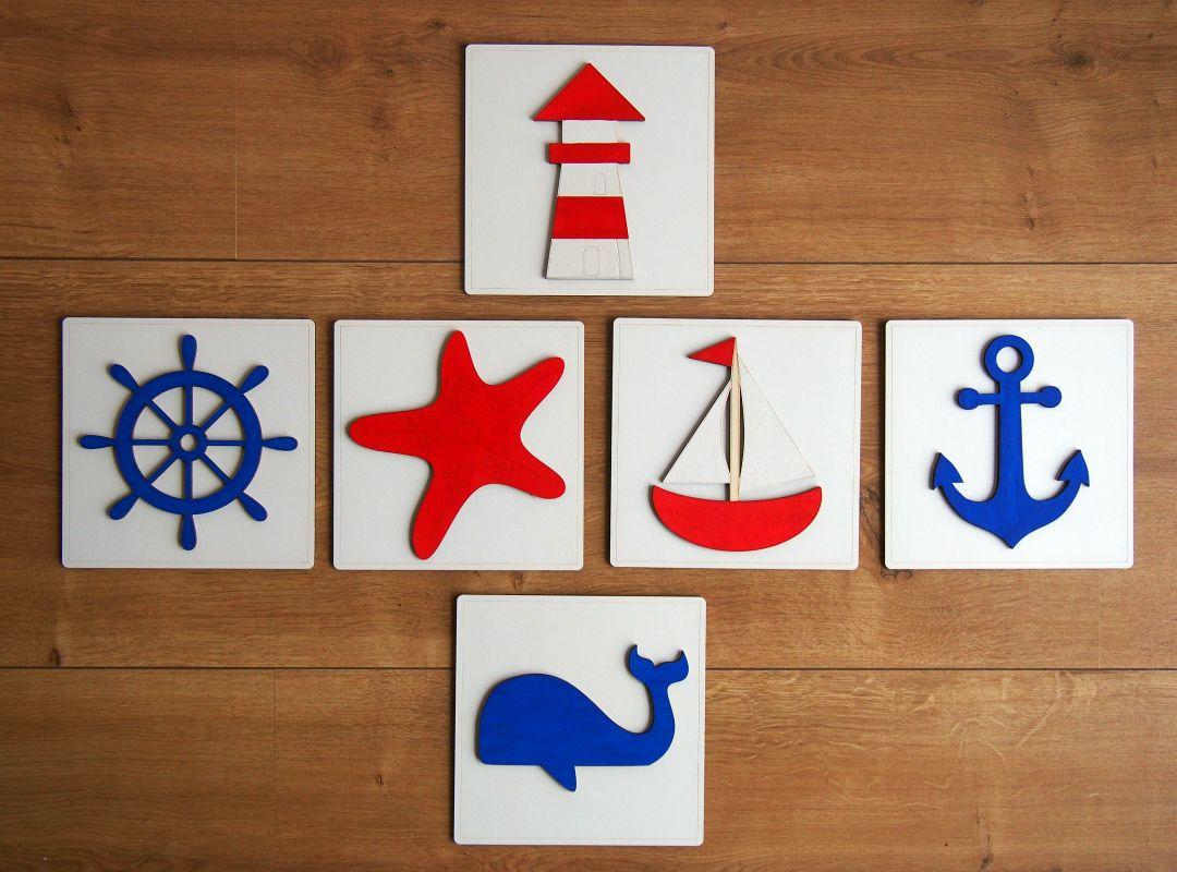 Sada dřevěných obrázků s námořnickými motivy 6ks